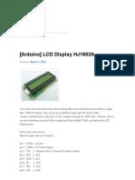 [Arduino] LCD Display HJ1602A _ Billwaa's Blog
