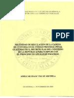 La Necesidad de La Regulacion de Cadena de Custodia