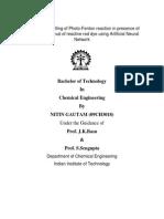 Mathematical modelling of photocatalytic reaction