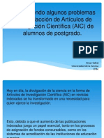 Descubriendo Algunos Problemas en La Redacción de Artículos de Investigación Científica (AIC) de Alumnos de Postgrado.