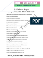 10th Acid Base and Salt Cbse Guess Paper- 06