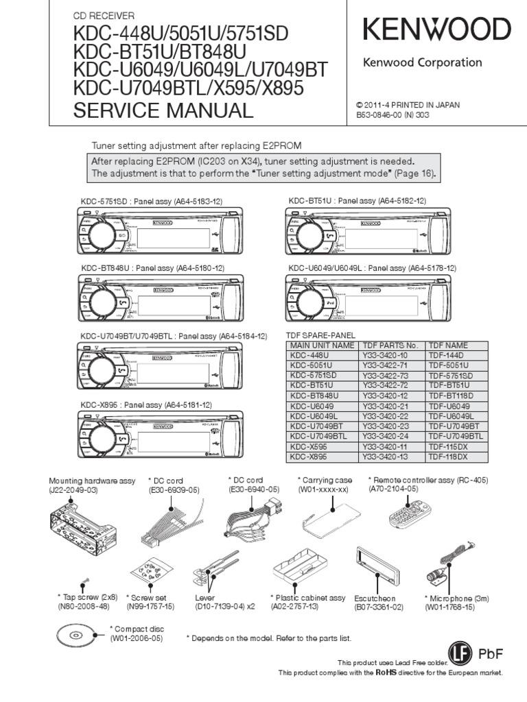 Kenwood Kdc 448u 5051u 5751sd Bt51u Bt848u Model X595 Speaker Wiring Diagram U6049 U6049l U7049bt U7049btl X895 Power Supply Usb