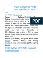 Novak Djokovic Overcomes Roger Federer to Win Wimbledon Men