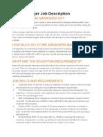 Store Manager Job Description Exemple