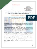 PRESSURE INTERVENTION BY SPYGMOMANOMETER ON THE POST-STROKE HEMIPLEGIC PATIENT