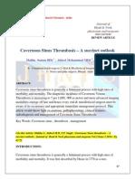Cavernous Sinus Thrombosis – A succinct outlook