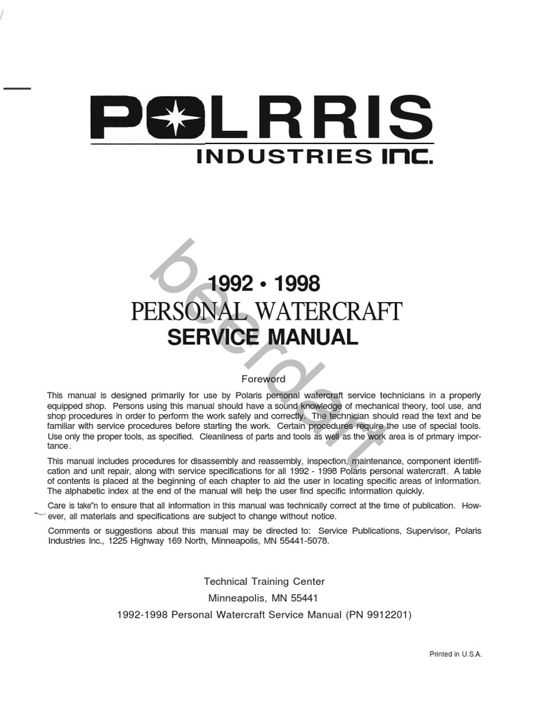 polaris pwc 1992 1998 factory service manual rh scribd com 2002 polaris virage owners manual polaris virage service manual full download