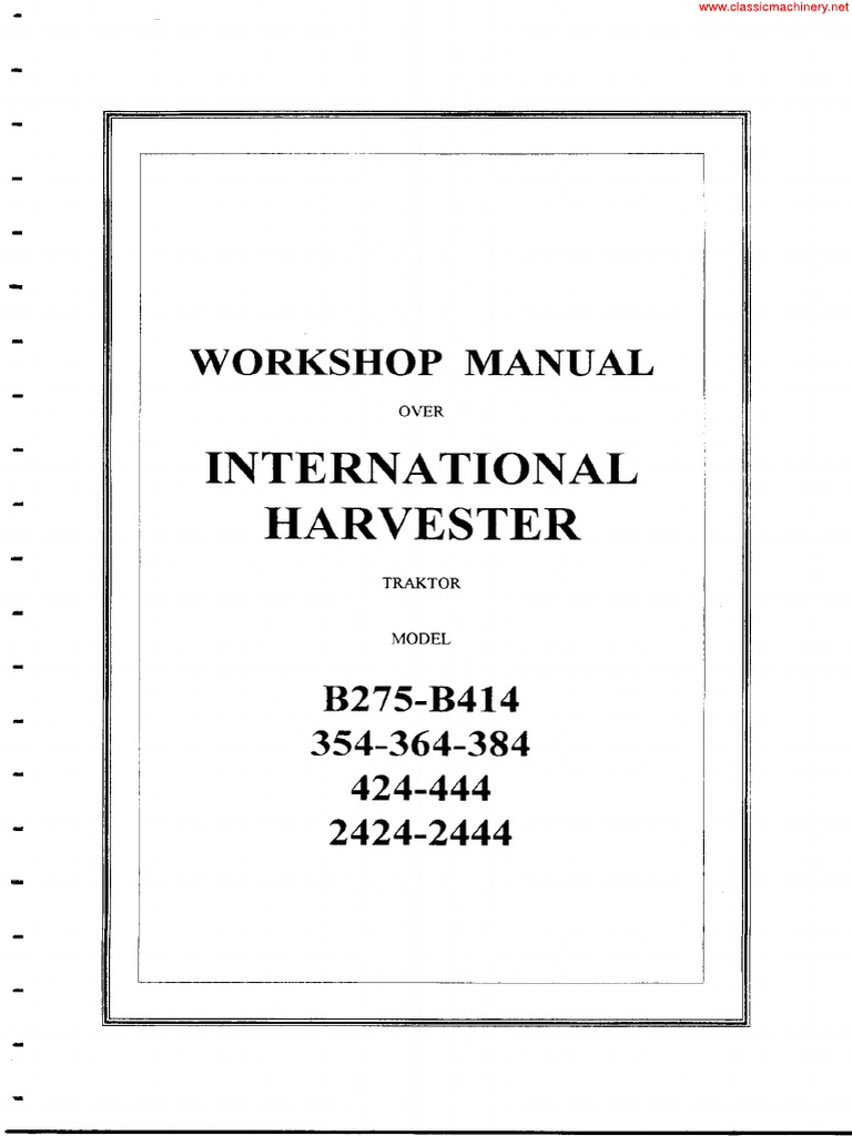 364 International Harvester Wiring Diagrams Good 1st Diagram Tractor Ih B275 B414 354 384 424 444 2424 2444 Manual Steering Valve Rh Scribd Com 574 Schematics H