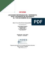 Deliverable 5 Lecciones Reiteradas Del Terremoto en El Occidente de Guatemala El 7 de Noviembre de 2012