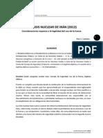 La crisis nuclear de Irán (2012). Consideraciones respecto a la legalidad del uso de la fuerza.