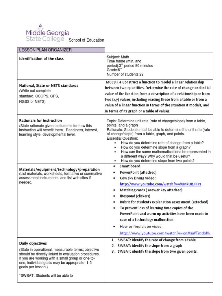 Slope lesson plan spring 2014 educational assessment lesson plan falaconquin