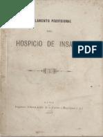 Reglamento provisional del Hospicio de Insanos