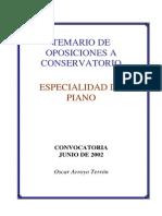 Temario - Oposiciones Piano (Conservatorio)