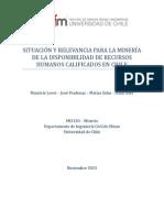 Situación Relevancia Minería Disponibilidad RRHH Calificados Chile