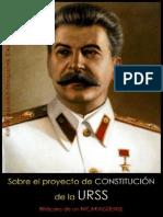 Stalin - Sobre El Proyecto de Constitucion de La URSS