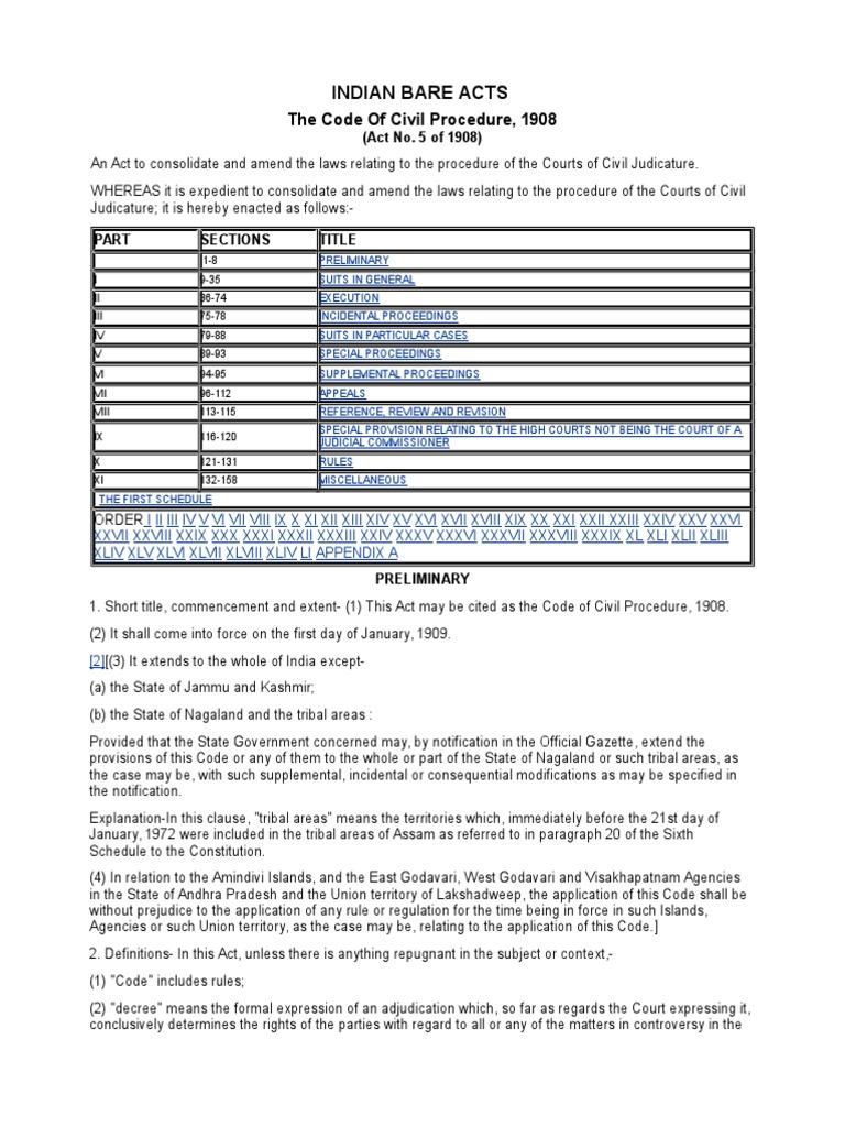 code of civil procedure 1908 bare act