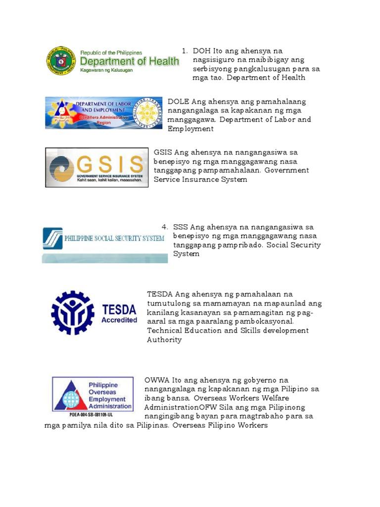 Mga Tungkulin at Kagawaran Ng Pilipinas