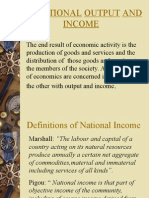 National Output and Income Concepts and Methods