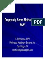 Propensity Score Methods Using SAS