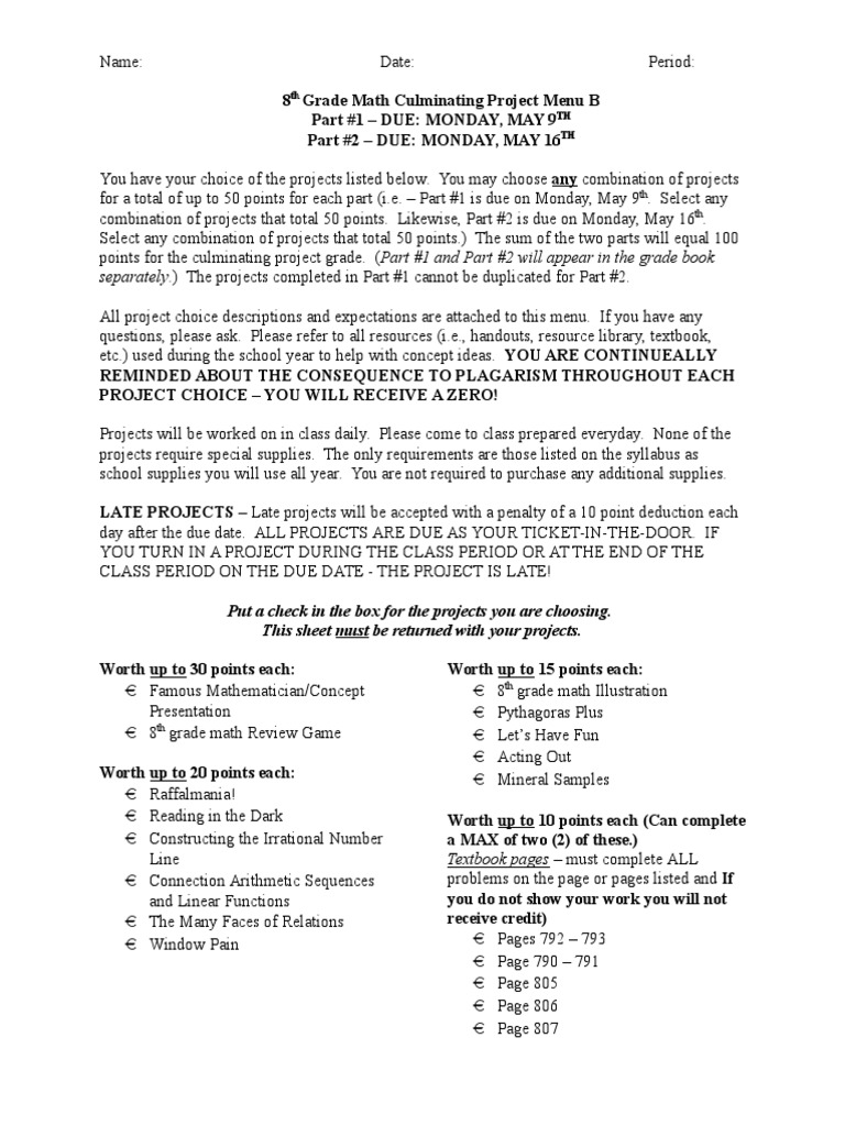 8th Grade Math Project Menu