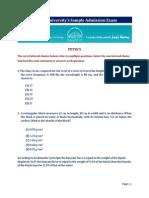Admission Examination Sample English