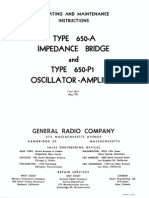 General Radio GR-650 Operation and Maintenance Manuial