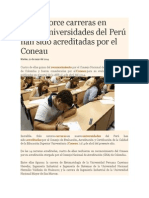 Solo Catorce Carreras en Nueve Universidades Del Perú Han Sido Acreditadas Por El Coneau