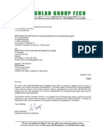 Letter and Notice From Baghlan Group - 12 03 2014