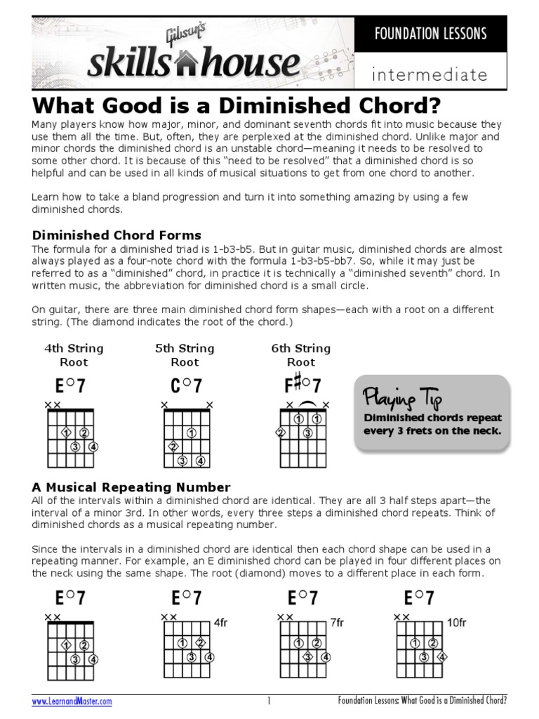 What Good Is A Diminished Chord Chord Music Guitars