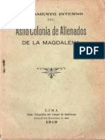Reglamento interno del Asilo Colonia de la Magdalena