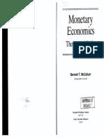 Monetary Economics, Theory and Policy - Benett T. McCallum