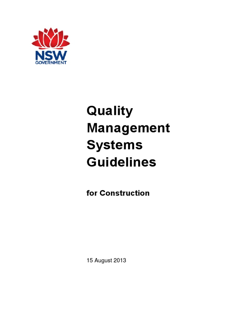 Quality Management Systems Guidelines: for Construction