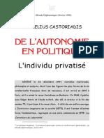 #CASTORIADIS, De l'Autonomie en Politique
