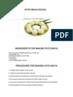 Ingredients for Making Puto Maya