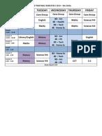timetable semester 2