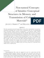 Spreading Non-natural Concepts (Barrett & Nyhof 2001) apoyo a Boyer - éxito de de transmisión de contraintuitividad