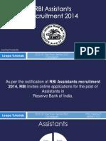 RBI Assistants Recruitment 2014