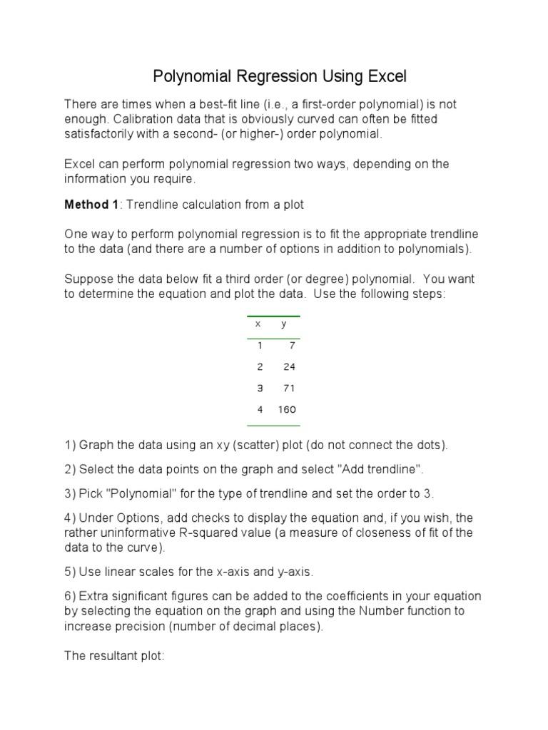Polynomial Regression Using Excel: Method 1: Trendline