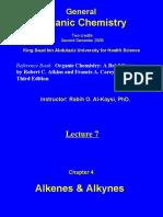 Lecture 7 - Alkenes & Alkynes