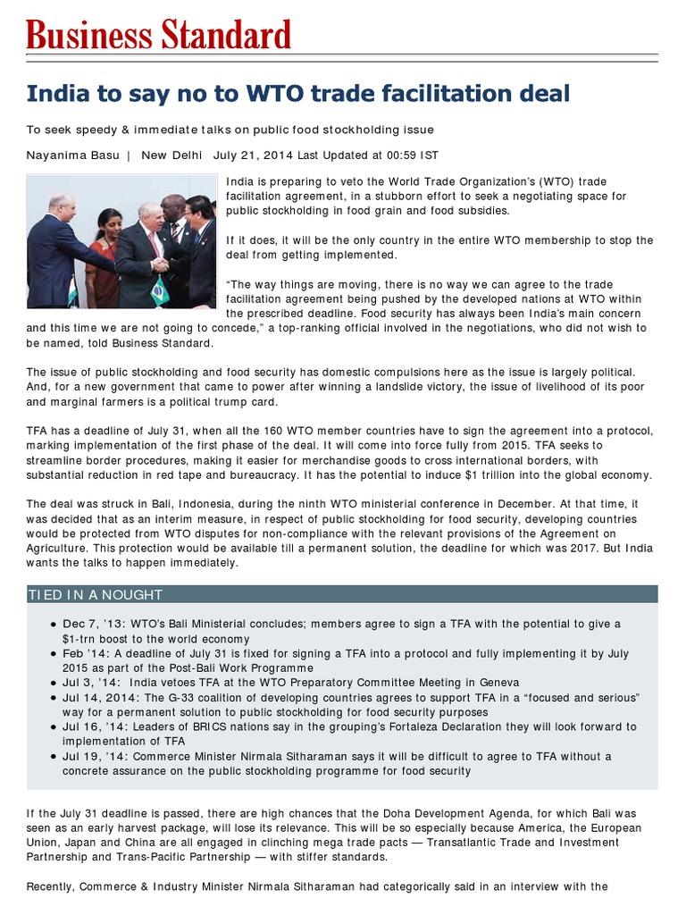 India at bali world trade organization international relations platinumwayz