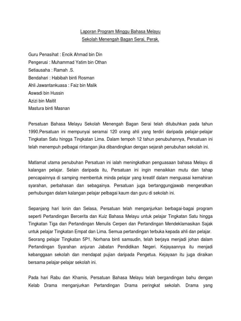 Laporan Program Minggu Bahasa Melayu