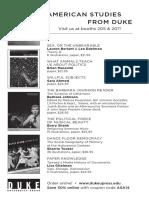 Duke University Press Program Ad for the American Studies Association 2014 Conference