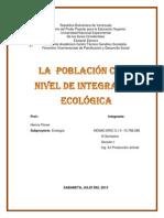 La Poblacion Como Vivel de Integracion Ecologica