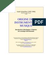 Origine Des Instruments de Musique - Andre Schaeffner