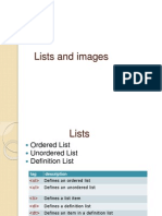 Lists and Images