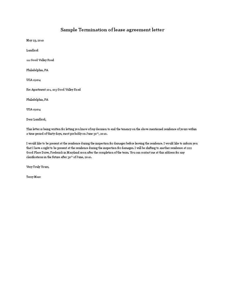 Termination Of Lease Agreement Letter