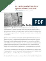 Ukraine Forces Capture Rebel Territory Close to Malaysia Airlines Crash Site