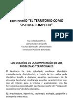 Presentación Territorio y Sistemas Complejos. 2013
