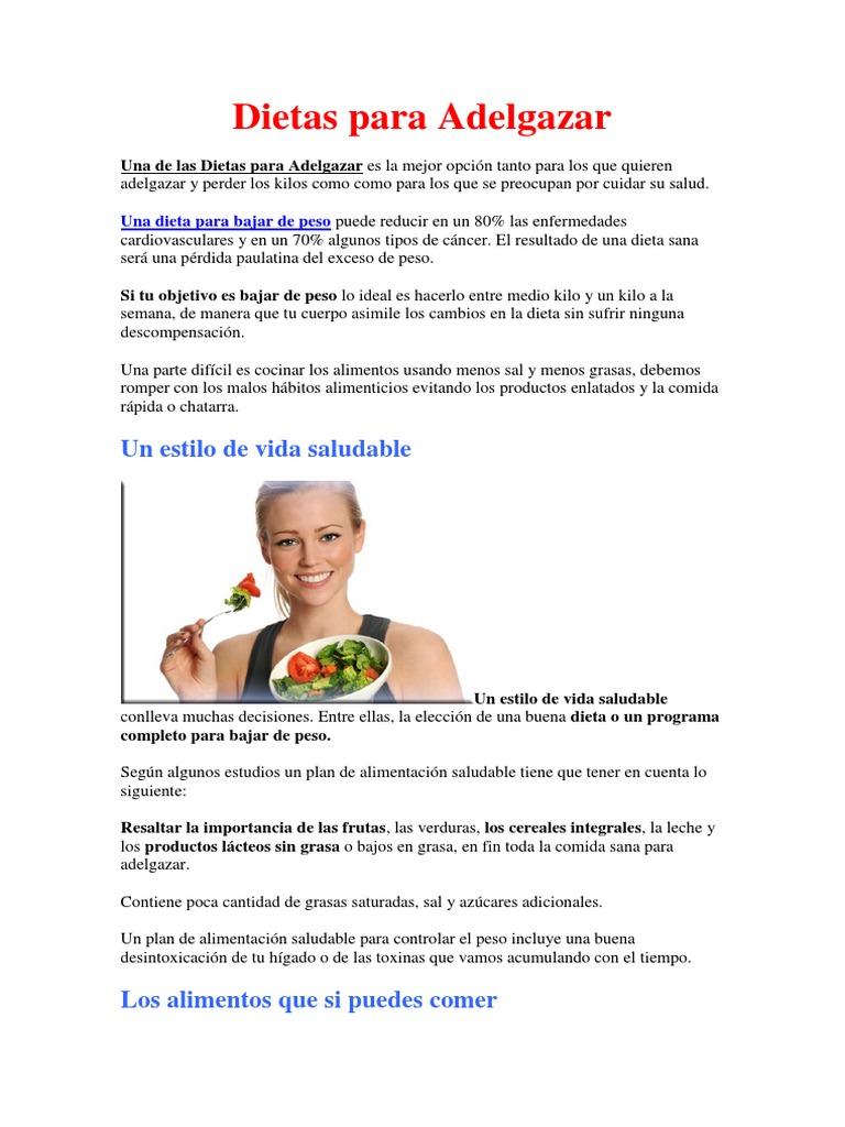 Una buena dieta sana para adelgazar