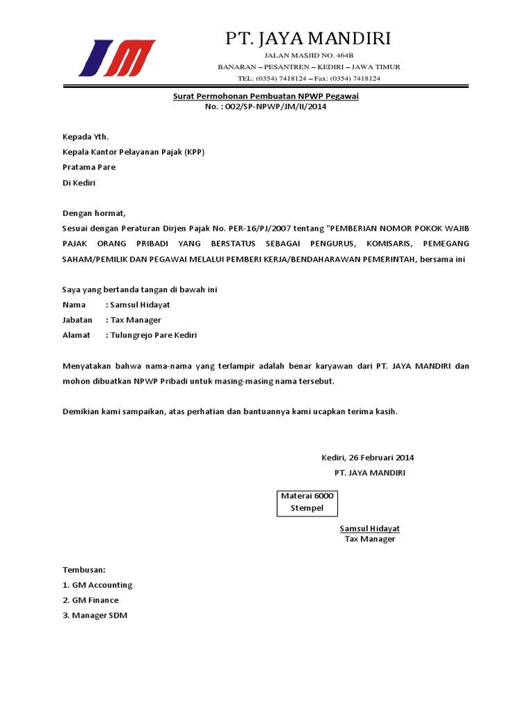 Surat Permohonan Pembuatan NPWP Karyawan.pdf